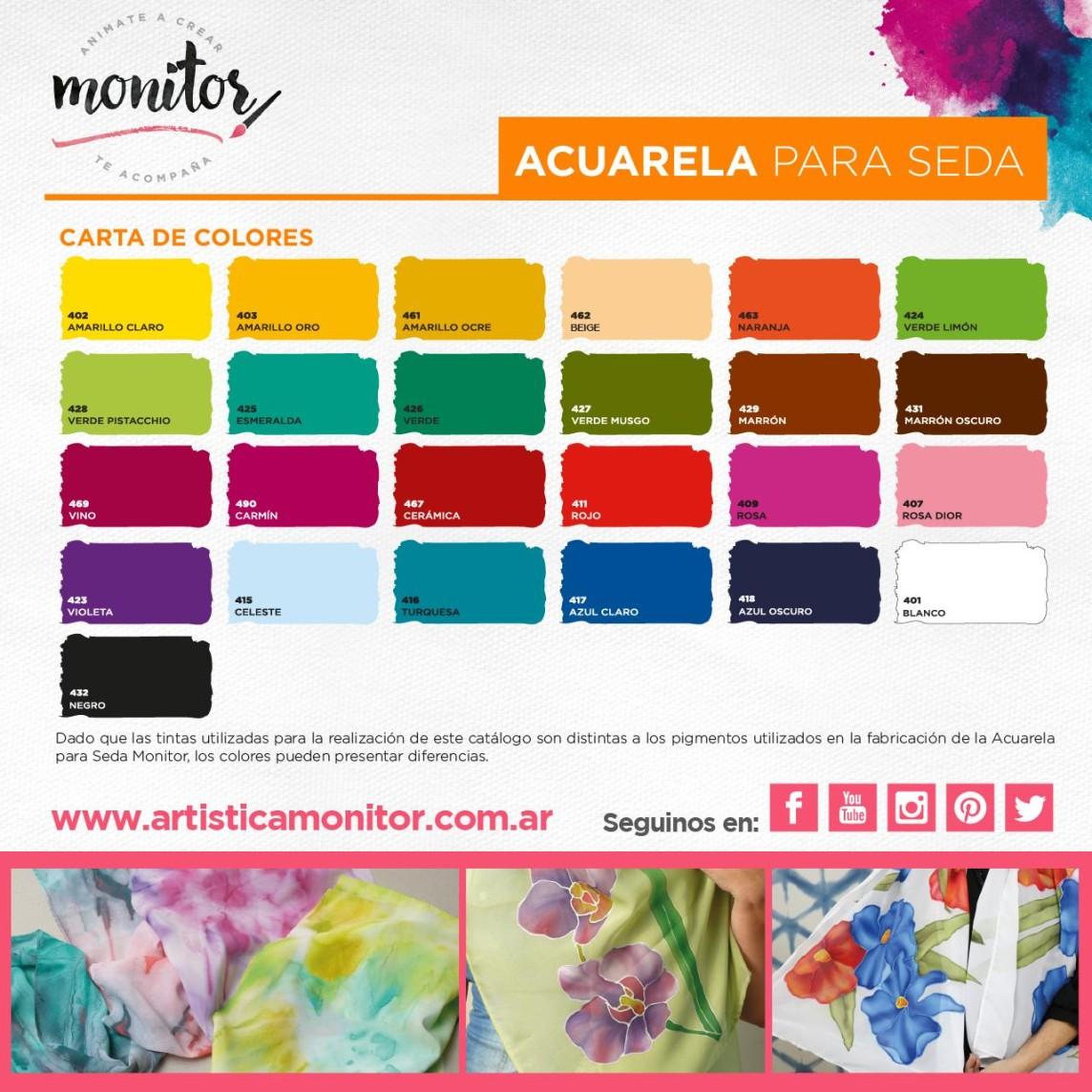 Carta de colores para Acuarela para Seda