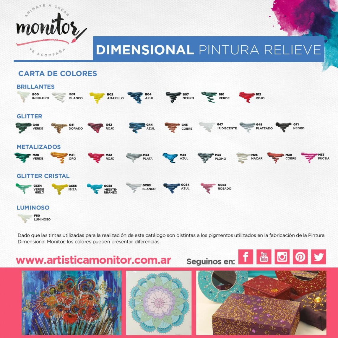 Carta de colores para Pintura Dimensional