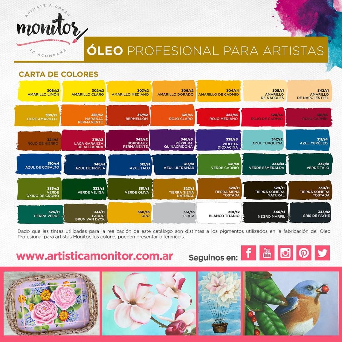 Carta de colores para Óleo Profesional para Artistas